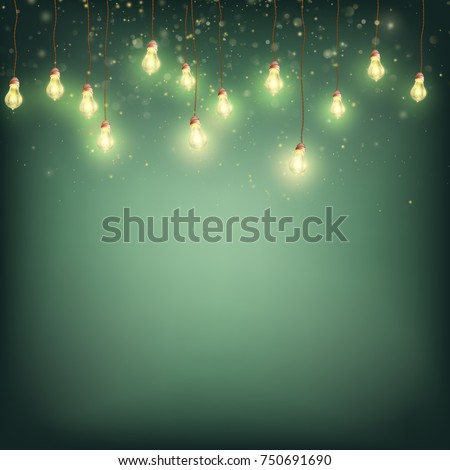 Merry Christmas Card Concept - Glowing Lights Garland. Xmas Holiday Greeting Template. And also includes EPS 10 vector