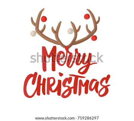 merry christmas card design with hand drawn text reindeer horns with christmas balls decoration - Merry Christmas Logos