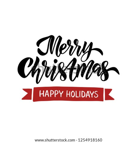 Merry Christmas card. Hand drawn brush lettering. Winter holiday typography. Vector illustration - Shutterstock ID 1254918160