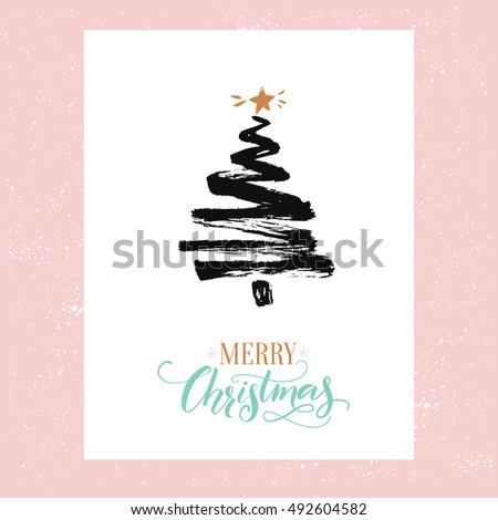 Merry Christmas card, minimalism design. Simple sketched fir tree and calligraphy text Merry Christmas. Black ink and gold colors at pink background.