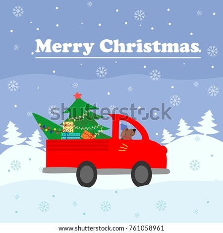 merry christmas card red a