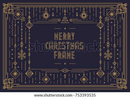 merry christmas card template with frame and new year toy art deco line style gold color