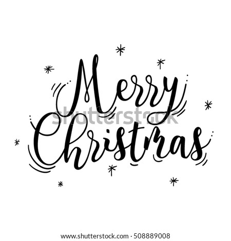 Merry Christmas card,text in black color,in vector.