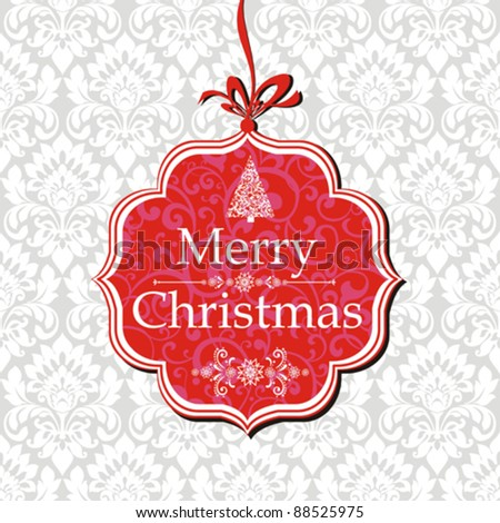 Merry Christmas card. Vector greeting card on a red background with bow