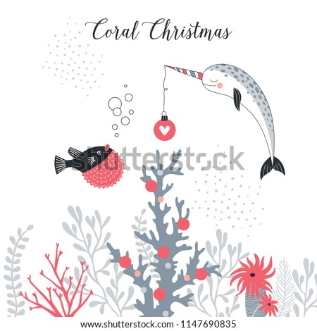 Merry Christmas card, whimsical art