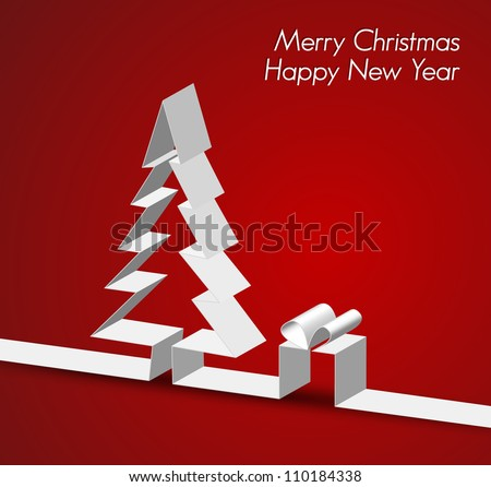 Merry Christmas card with a white tree made from paper stripe