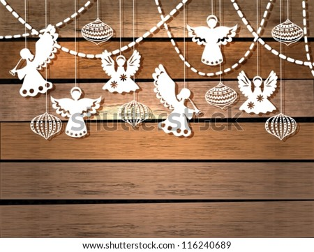 Merry Christmas card with Angels and decorations in paper cut style vector