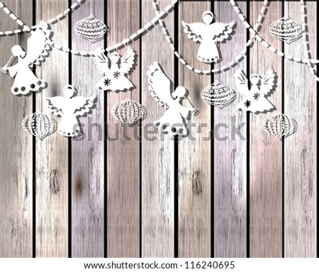 Merry Christmas  card with Angels and decorations in paper cut style, vector