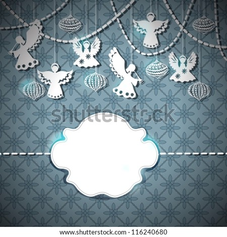 Merry Christmas  card with Angels and decorations in paper cut style with place for text, vector