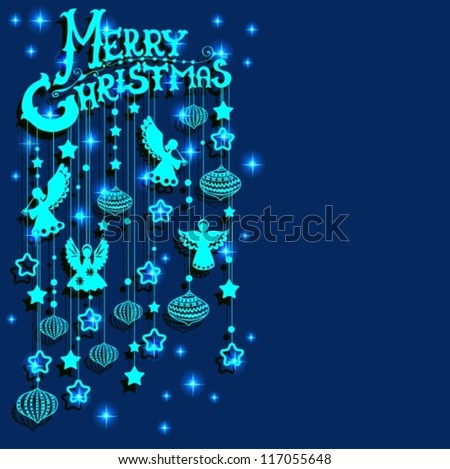 Merry Christmas  card with Angels, paper cut or origami style, vector