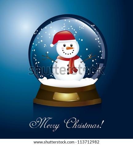 merry christmas card with christmas globe and snowman. vector