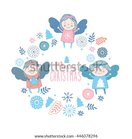 merry christmas card with cute