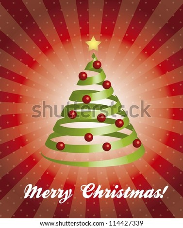 merry christmas card with 3d tree. vector illustration