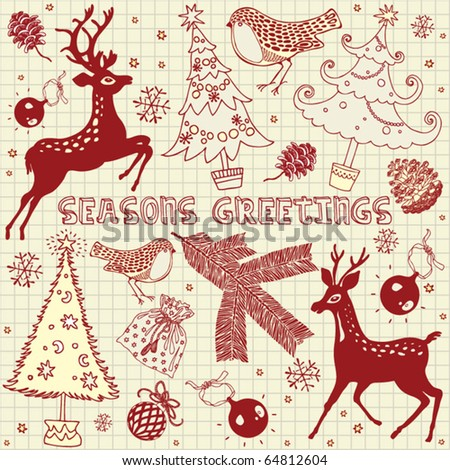 Merry Christmas, card with deers