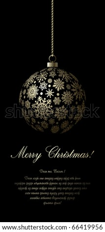 Merry Christmas card with golden ball and space for text.