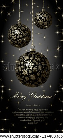 Merry Christmas card with golden balls on black background.