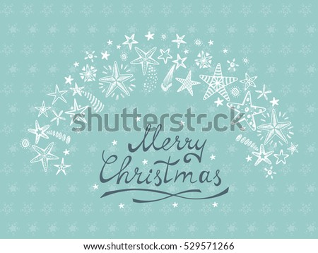 merry christmas card with hand