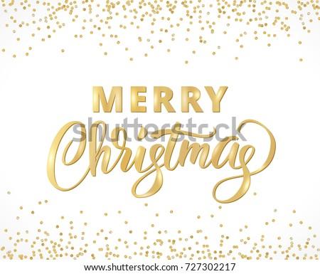 merry christmas card with hand written lettering golden glitter