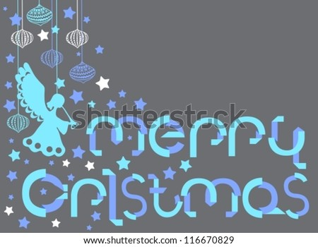 Merry Christmas card with letters in origami style, vector