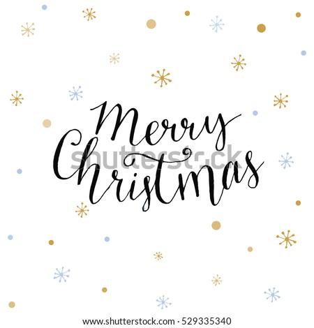 Merry Christmas card with modern calligraphy and golden snowflakes. Vector Christmas design