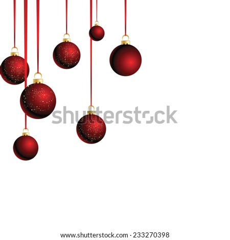 Merry Christmas card with red bauble . Vector illustration. #233270398