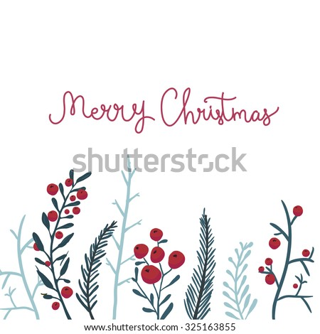 merry christmas card with red
