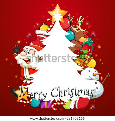 Merry Christmas card with Santa and tree illustration #321708155