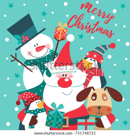 Merry Christmas Card With Santa Claus Snowman Penguin And Dog Vector Illustration