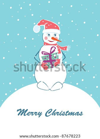 Merry Christmas card with snowman. Vector illustration