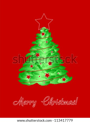Merry christmas card with tree Vector