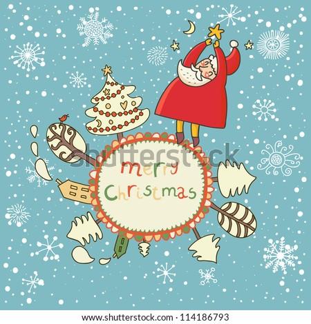 merry christmas cartoon vector