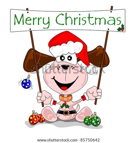 Merry Christmas cartoon with puppy dog in a Santa Claus outfit