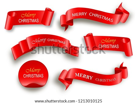 Merry Christmas celebration background with red realistic ribbon banner and snow. Vector illustration #1213010125