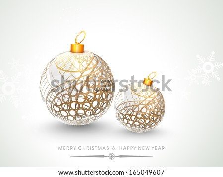 Merry Christmas celebration flyer, banner, poster or invitation with beautiful Xmas balls on snowflakes decorated grey background.