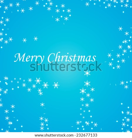 Merry Christmas celebration flyer, banner, poster or invitation with stylish text on snowflakes. Vector illustration