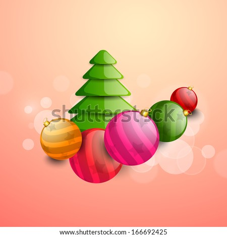 Merry Christmas celebration flyer, poster, banner or invitation with glossy Xmas tree and Xmas balls.