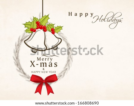 Stock Photo Merry Christmas celebration greeting card or invitation card with hanging jingle bells.