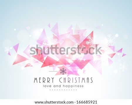 Merry Christmas celebration greeting card or invitation card with stylish text on abstract background.