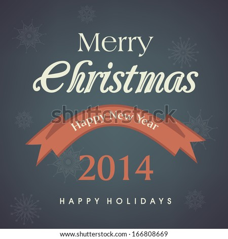 Merry Christmas celebration greeting card or invitation card with stylish text on grey background.
