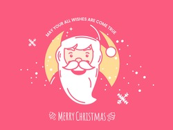 Merry Christmas Celebration Poster Design With Cartoon Santa Claus And Snowfall On Pink Background.