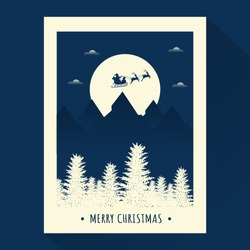 Merry Christmas Celebration Template Or Poster Design With Silhouette Santa Riding Reindeer Sleigh On Full Moon Landscape Background.