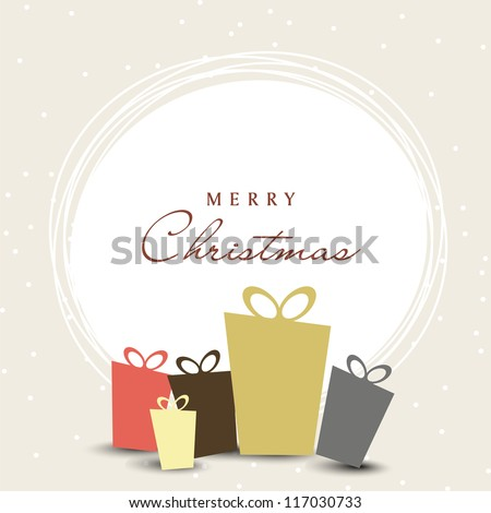 Merry Christmas celebration with gift boxes on snowflakes background. EPS 10.
