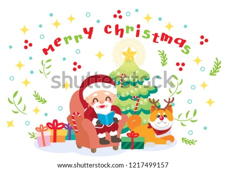 merry christmas cheerful santa claus illustration vector #1217499157