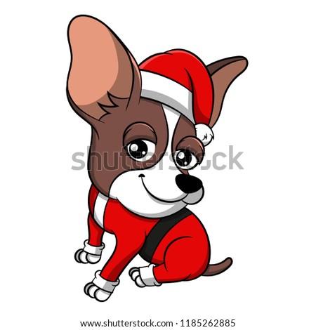 stock-vector-merry-christmas-chihuahua-cartoon-dog-vector-illustration-of-purebred-christmas-chihuahua-dog