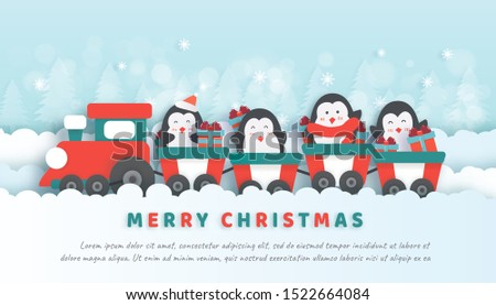 Merry Christmas , Christmas celebrations with cute penguins siting on the train  for Christmas card, Christmas background  in paper cut and craft style  style.