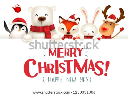 Merry Christmas! Christmas cute animals character with big signboard.