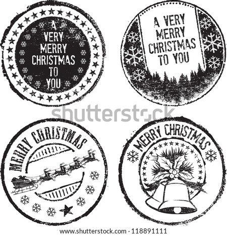 Christmas Rubber Stamp Set - Download Free Vector Art, Stock ...