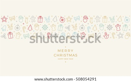 merry christmas colorful icon elements banner card