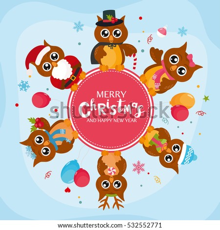 Free winter owl vectors download free vector art stock graphics merry christmas concept with cute owls vector frame with owls character creative design for stopboris Choice Image