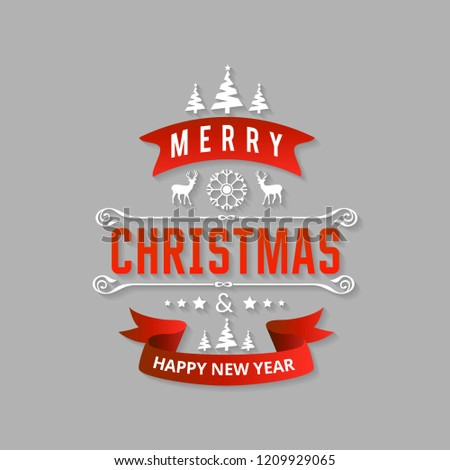 Merry Christmas creative design with typography vector
